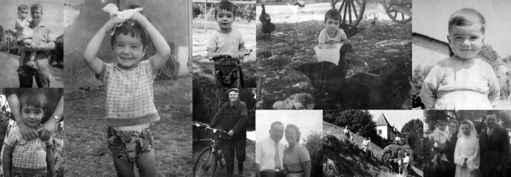 Photos de Bernard Legon enfant, photographies anciennes, années 60, ferme, agriculteurs, famille, parents, enfants